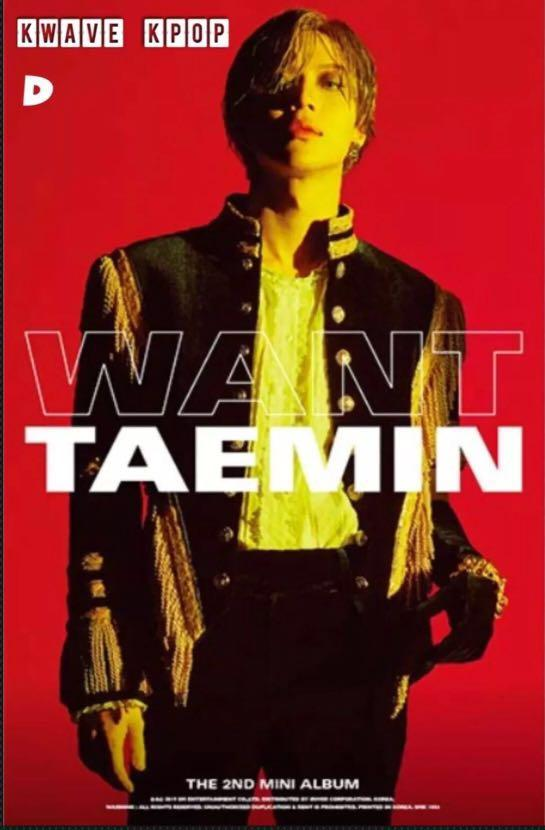 SHINee TAEMIN {WANT} - 1P OFFICIAL FOLDED /UNFOLDED OFF POSTER - SELECT A/B/D