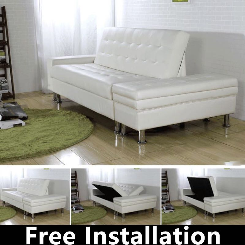 Sofa Sofa Bed Pu Sofa Storage Sofa Type G Black White Furniture