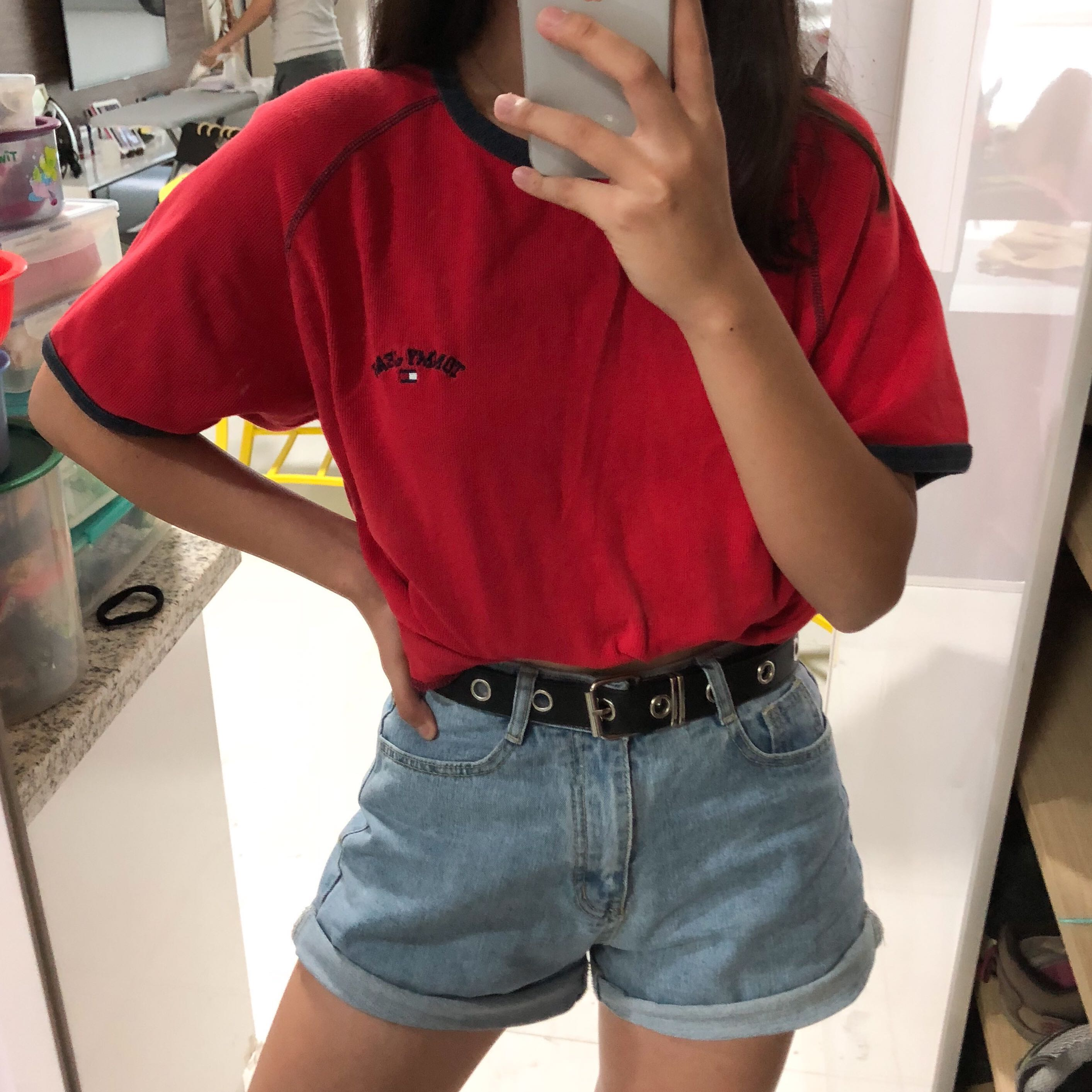 96a7a42d9 vintage red tommy jeans ringer tee, Women's Fashion, Clothes, Tops on  Carousell