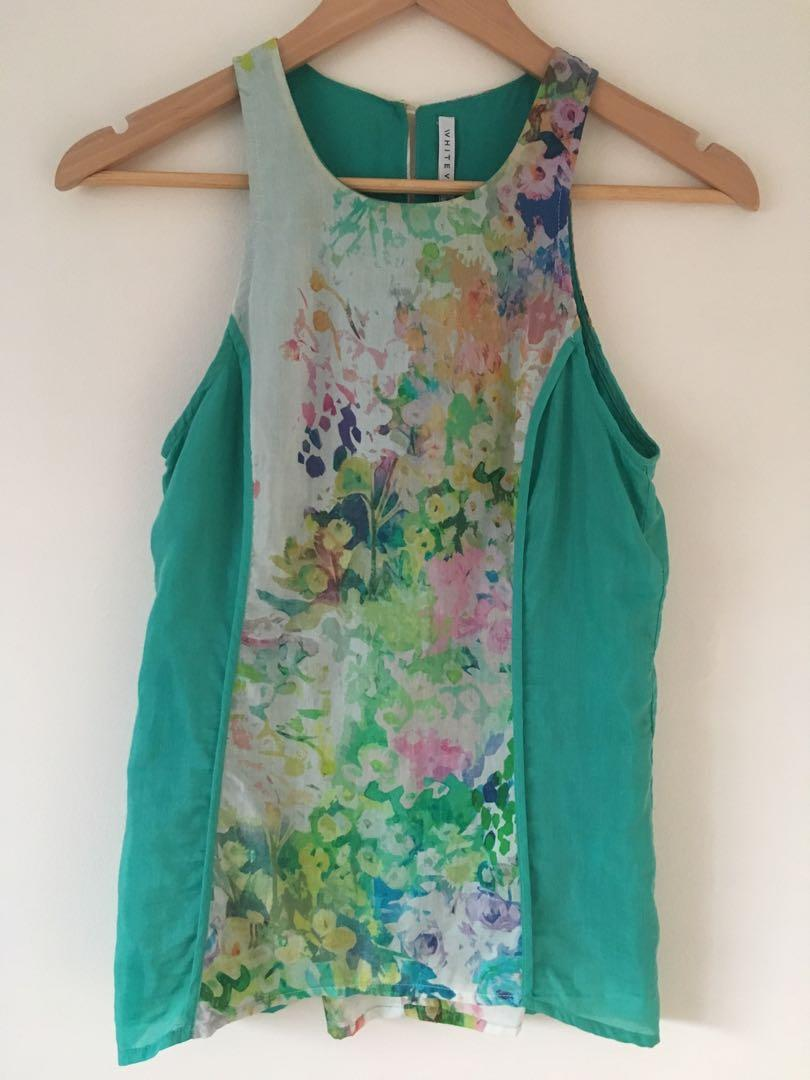 White verve green top with floral abstract print size 6
