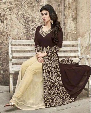[EID SALE!] Cream & Brown Anarkali Suit
