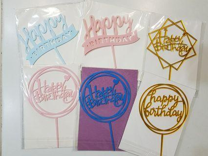 🚚 Happy birthday Acrylic toppers for party cake /Cupcake/Muffin Toppers for Party Decoration