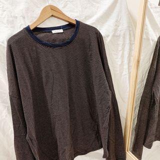 韓國帶回🇰🇷#半價衣服拍賣會 韓製寬鬆條紋長袖上衣