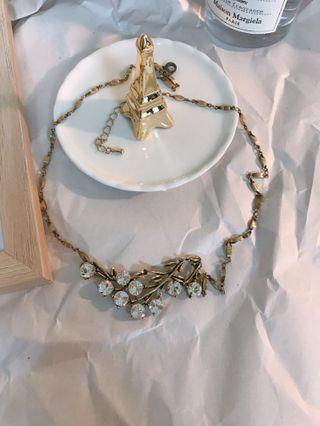 🚚 轉售cordate樹枝水鑽古銅金色復古項鍊調節鍊