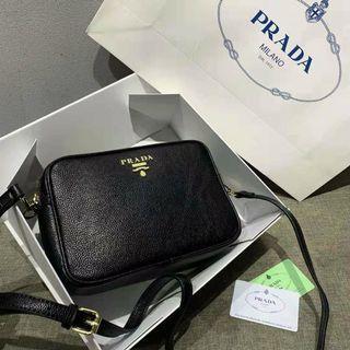 Prada Saffiano Mini Crossbody Sling Bag Black