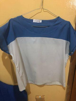 Blouse Blue and Broken White
