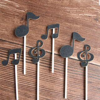 6pcs Musical notes cake toppers