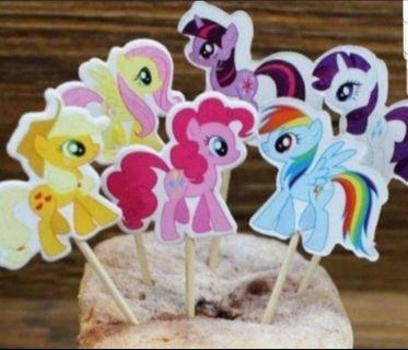 24pcs my little pony Cake/Cupcake/Muffin Toppers for Party Decoration