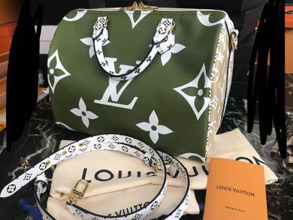 🌴2019 SS🌴Rare Louis Vuitton Geant Speedy Multi Green White Beige Ghw