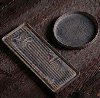 🚚 全新的粗陶茶托 泡茶陶盤 儲水盤 泡茶用具 茶具