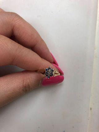 10K Yellow Gold Sapphire and Diamond Ring