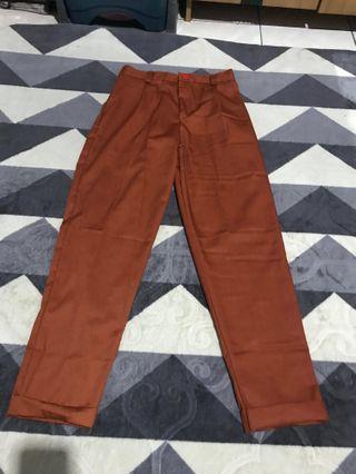 Celana Bahan chino pants terracota
