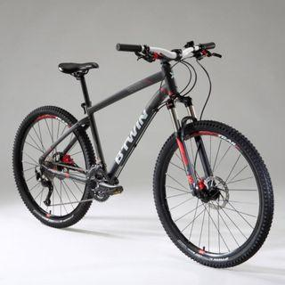 """B'Twin RockRider ST 540 Mountain Bike 2018, Red and Grey - 27.5"""" Size S"""