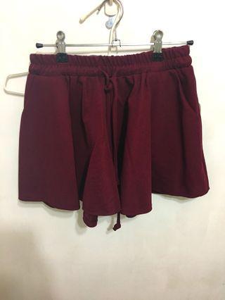 氣質百搭傘狀褲裙修飾腿型酒紅色
