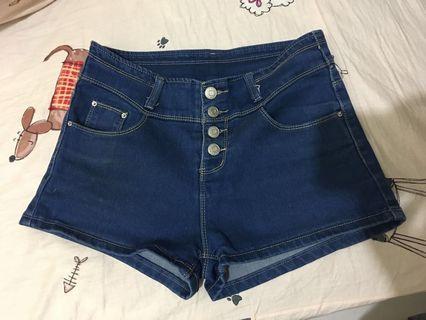 高腰排扣牛仔短褲深藍m號