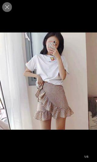 🚚 Checkered/ Plaid Skort with Ruffles in Brown