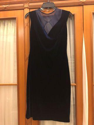寶藍色絲絨裙 navy blue velvet dress