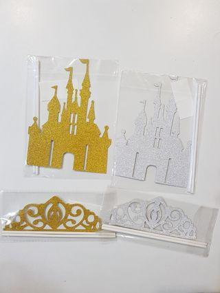 Princess Castle/ Tiara cake topper decoration for party