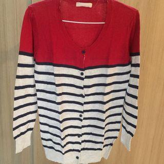 Red and stripe cardigan