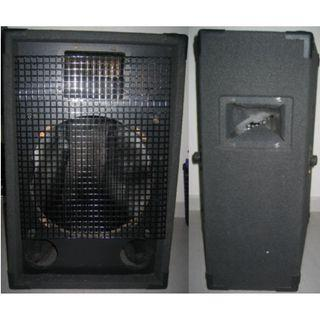 very large speaker housing . empty carpeted woofer subwoofer casing