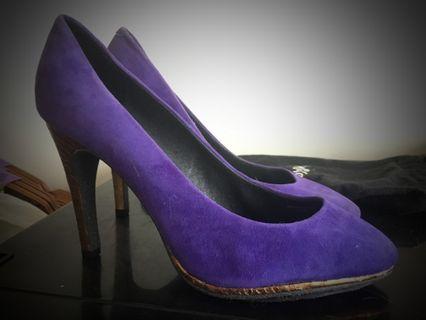 🚚 大碼40,41專櫃高跟鞋 Miss sofi高貴感紫色金跟高跟鞋 全新僅試穿