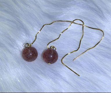 草莓水晶耳環