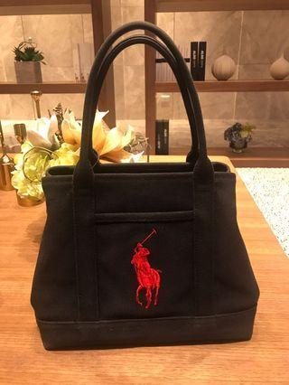 POLO Ralph Lauren 黑色大馬刺繡手提包