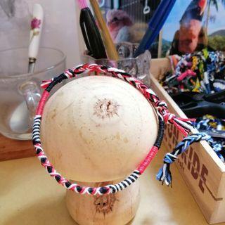 紅黑白交叉花紋手繩腳繩