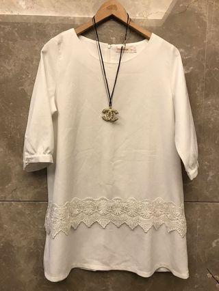 🚚 白色氣質蕾絲洋裝(大尺碼)