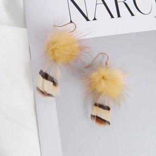 全新✨波希米亞羽毛毛球耳鉤
