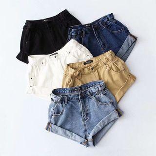 🚚 Black Elastic Waist Denim Shorts