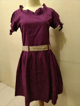 Purple Dress with gold bow