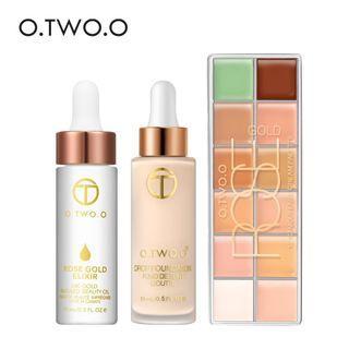 O.TWO.O Foundation Concealer Palette + 24k Rose Gold Make Up Oil (3 Pcs/Set)