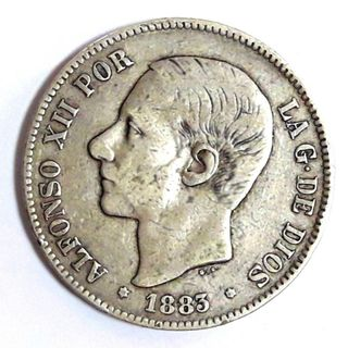 Philippines Alfonso Xii Spanish Colonial 50 Centavos De Peso 1885 Outstanding Features Spanish (up To 1898)