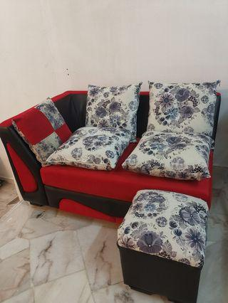 2 seater sofa with stool (FREE 5 small cushions)