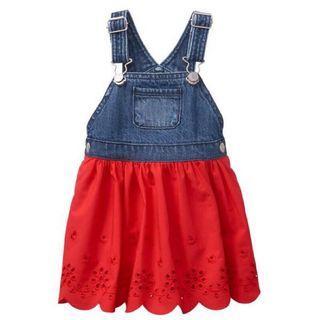Gymboree 紅雕花 吊帶裙
