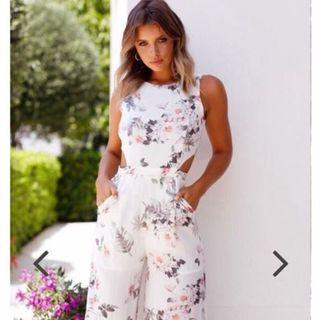 Semi Backless Floral Cropped Jumpsuit