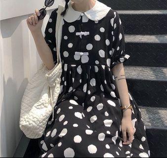 《洋裝 全新》復古點點泡泡袖洋裝