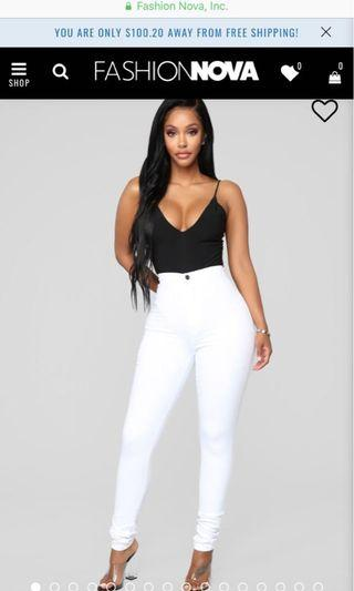 FashionNova- Super High Waist Denim Skinnies (White)