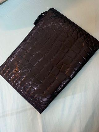(REDUCED PRICE ) Authentic OROTON CROC SKIN EMBOSSED LEATHER CLUTCH/POUCH