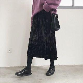 復古高腰鬆緊皺摺黑色絲絨裙
