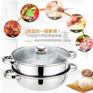 2 Tiers Stainless Steel Steamer Soup Steam Wok (28cm)