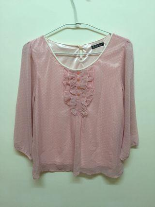 🚚 粉紅色雪紡上衣M可