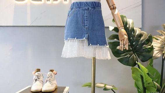 女童牛仔拼網紗短裙