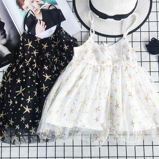 女童星星吊帶裙