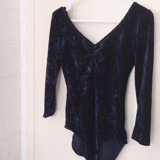 Blue Velvet 3/4 Longsleeve Bodysuit