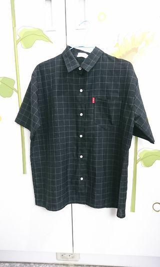 🚚 made in Korea紅標格子黑色襯衫