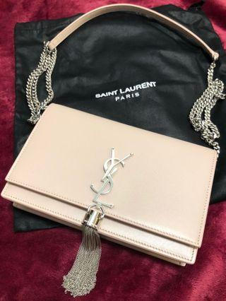 NEW - YSL BLUSH PINK KATE CHAIN WALLET WITH SILVER CHAIN TASSEL IN SMOOTH LEATHER