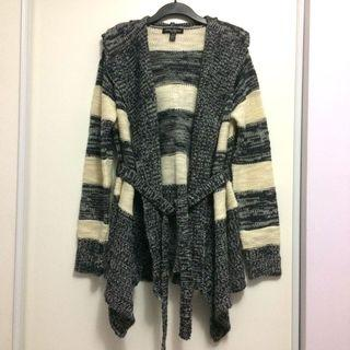 Hooded Striped Sweater Cardigan (Size Large)