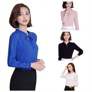 Long Sleeve Stand Collar Bow Chiffon Office Wear Shirt